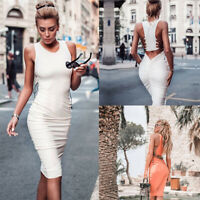 Bodycon Club Cocktail Short Evening Women's Bandage Sleeveless Dress Mini Party