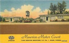 1953 Maurice Motor Court Swimming Pool Miami Florida Teich linen postcard 4091