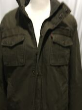 MENS ARMY GREEN LEVI LINED JACKET SIZE MEDIUM