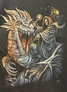 Black T Shirt By WILD Death Riding A Dragon Size XXL Very Crisp Graphics