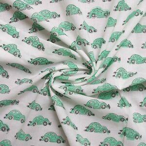 Green Cars Hand Block Print By Meter Indian 100% Cotton Women Kids Dress Fabric