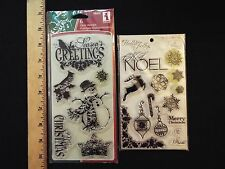 inkadinkado ornate christmas & my mind's eye holly jolly clear stamps-NEW & USED