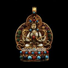 Tibet silver inlay coral niche for Buddha four arm Guanyin shrine Amulet Pendant
