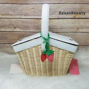 Kate Spade Picnic in the Park Strawberry Natural Wicker Basket New 398 Crossbody