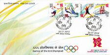 India 2012 FDC London Olympics 4v Set Cover Games Handball Surfing Rowing