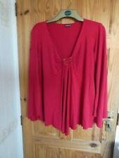 EVANS RED WOMENS TOP 18   BEADED   PLUS SIZE      FLOATY SLEEVES