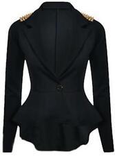 VGC_Black Womens Gold Spike Studded Shoulder Casual Blazer Peplum Jacket_14/16
