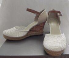 Women's Apt. 9 White/Beige Canvas Cork Lace Espadrille Platform Wedge Sandals 9