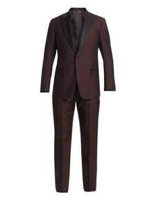 $2195 Mens Emporio Armani G-Line Tuxedo Burgundy/Black IT 52 US 42