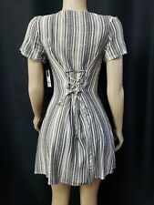 New listing BP GRAY STRIPED SHORT SLEEVE SIZE XXS WOMEN'S DRESS BUTTONS FRONT NWT #CB7