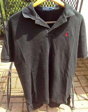 Men's POLO by Ralph Lauren Pony Logo Short Sleeve Black 100% Cotton shirt Size M