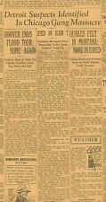Valentines Day Massacre Original Paper February 16 1929 Gangsters Slain
