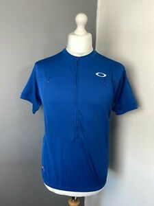 Oakley Large Breathable Blue Cycling Mountain Biking Zip Up Jersey Stretchy Top