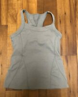 Athleta Tank Top Womens Gray Athletic Racerback Built In Bra Yoga shirt sz S ~ X