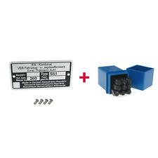 Set Typenschild + Schlagzahlen 4mm + 4xKerbnagel passend für Simson S51