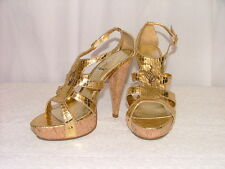 Baby Phat Size 9 NWOT Gold Embossed Sandal Platform Shoes Strappy High Heel