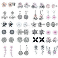 Genuine 925 Sterling Silver Flower Stud Earrings CZ Elegant Women Girls Jewelry