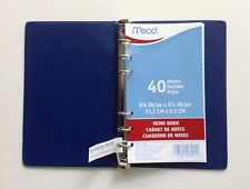 Mead 46001 Small 6 Ring Blue Vinyl Memo Notebook With 6 34 X 3 34 Lined Paper