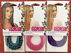 3 Hairdo Pop Color Strip Extensions (Teal Metallic, Light Pink, Dark Purple)