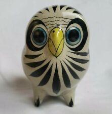 Tonala Snow Owl CAT Mexico Pottery Bird Figurine Ornament Artist Signed Numbered