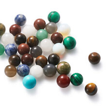 50pcs 9~11mm Undrilled Round Natural & Synthetic Mixed Stone Beads