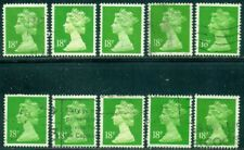 GREAT BRITAIN SG-Y1689, SCOTT # MH-104 MACHIN, USED, 10 STAMPS, GREAT PRICE!