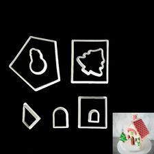 8pcs Christmas House Plastic Fondant Cookie Cutter Mold DIY Cake Decorating D SG