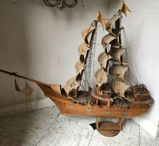 Antique folk art wooden hand made ship with sails