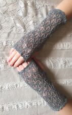 Elegant 100% Pure cashmere lace fingerless gloves.col. Mid Grey