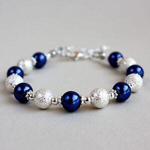 Silver stardust midnight blue pearls beaded bracelet wedding bridesmaid gift