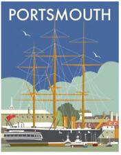 "Portsmouth HMS Warrior Art Deco style Art Print - 14"" Print"