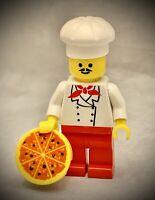 LEGO Minifigure Restaurant Chef w/ Pizza Pie - White Hat Baker Cook