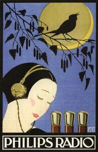 Vintage 1940s Philips Radio Tube Japanese Ad Poster 13 x 19 Giclee Print