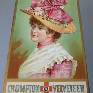 "Antique 12"" CHROMO Cardboard Advertising LADY Bonnet PINK BOW Crompton Velveteen"