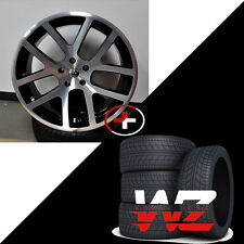"24"" Viper Style Wheels w Tires Machined Black Fits Dodge Ram 1500 Durango Dakota"