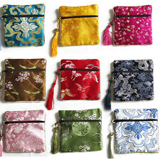 10PCS Mix Colors Chinese Zipper Coin Tassel Silk Square Jewelry Bags Pouches WH