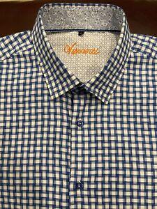 LUCHIANO VISCONTI Button Down Dress Shirt Mens Size XL Blue Plaid Flip Cuff New