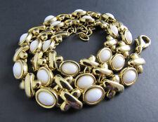 Vintage Gold Tone Milk Glass Sones Necklace Chocker (C2-7)
