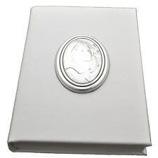 Vangelo bianco similpelle 11x8 maternità laminato argento