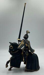 2003 Schleich World Of Knights Black Knight on Horse w Lance
