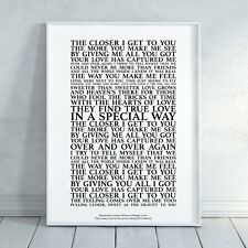 The Closer I Get To You - Song Lyrics Print Poster (Unframed) Wall Art Gift