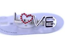 """Spesso argento e rosso """"love"""" & cuore doppie dita anello misura N O"""