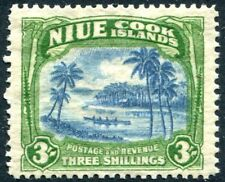 More details for niue-1938 3/- blue & yellowish-green  sg 77 mounted mint v27135