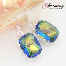 Shiny Delicate Rectangle Rainbow Mystic Topaz Gems Stone Hook Silver Earrings