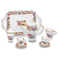 Porcelain Miniature Teapot Set Dollhouse Kitchen Accessories G1J1