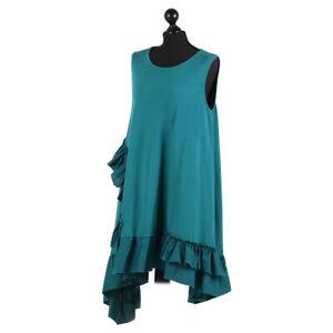 Asymmetric Hem Sleeveless Lagenlook Teal Cotton Dressfrom Timeless Season