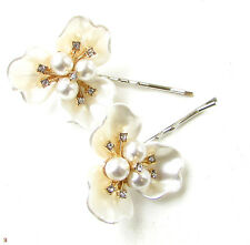 2x Ivory Gold Silver Pearl Flower Bridal Hair Clips Grips Slides Bobby Pins 941