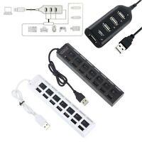 Black&White USB 2.0 Hi-Speed 4/7-Port Splitter Hub Adapter For Computer Notebook
