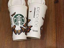 (2) Starbucks Reusable Plastic Grande Cup Tumbler Barista Contest - Butterfly