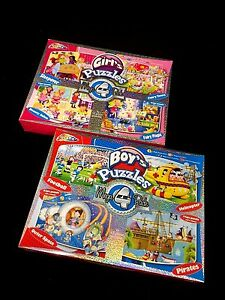 4 in 1 Puzzle Toy  Girl's Or Boy's Jigsaw Puzzles 45 Pieces Each 40x30cm